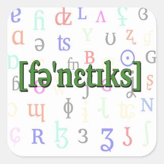 Fonética en IPA. Verde en fondo de los caracteres Pegatina Cuadrada