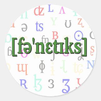 Fonética en IPA. Verde en fondo de los caracteres Pegatina Redonda