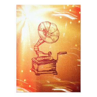 Fonógrafo antiguo del vintage. Gramófono viejo Invitación 13,9 X 19,0 Cm