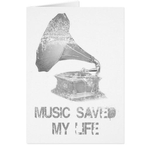 fonógrafo - la música ahorró mi vida tarjeta de felicitación