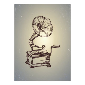 Fonógrafo único del vintage. Gramófono retro del Invitación 13,9 X 19,0 Cm