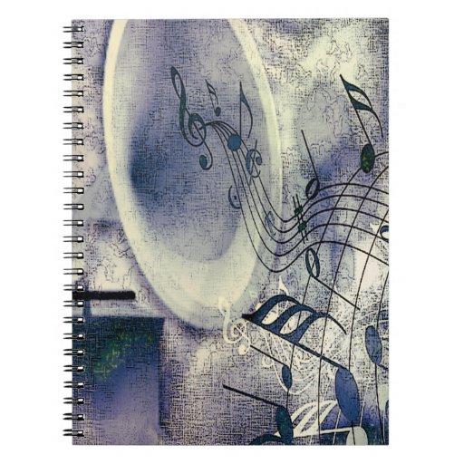 Fonógrafo y música del vintage note book