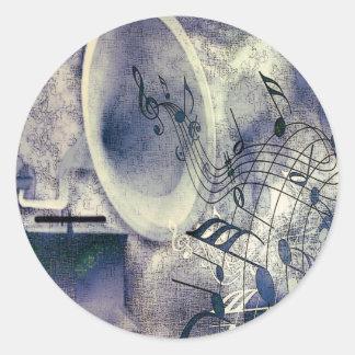 Fonógrafo y música del vintage pegatinas redondas