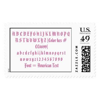 Font = American Text Postage Stamps