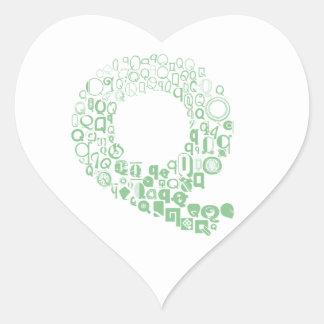 Font Fashion Q Heart Sticker