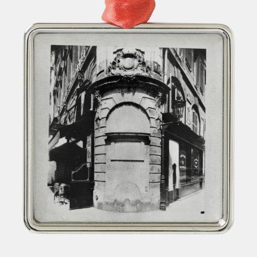 Fontaine de la Reine, ruda Santo-Denis, París Adorno Navideño Cuadrado De Metal