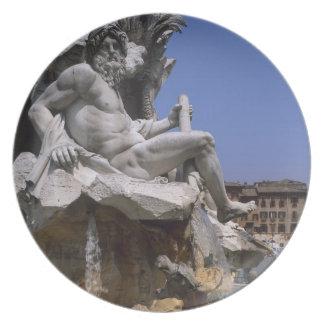 Fontana dei Quattro Fiumi, Piazza Navona, Rome, Dinner Plate