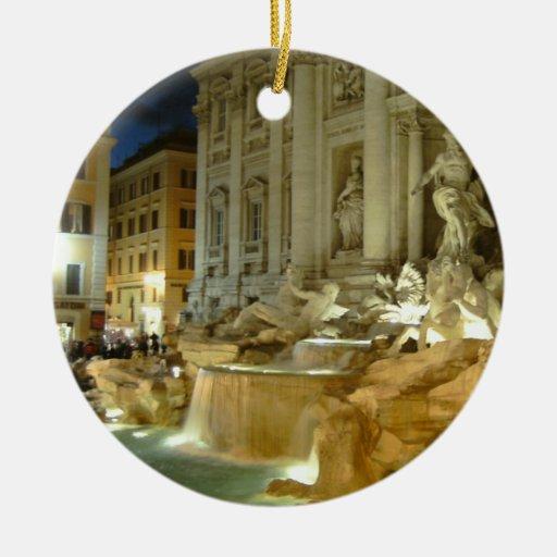 Fontana di Trevi Adorno Navideño Redondo De Cerámica
