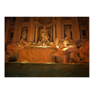 Fontana di Trevi at night painting 5x7 Paper Invitation Card