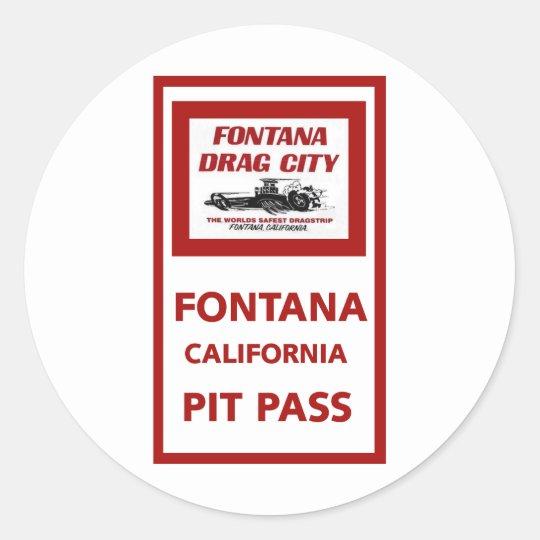 Fontana Drag Strip Pit Pass Classic Round Sticker