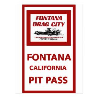 Fontana Drag Strip Pit Pass Postcard