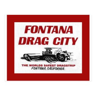Fontana Drag Strip Postcard