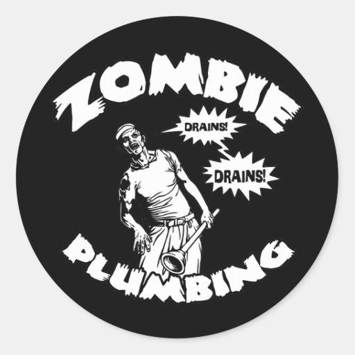 Fontanería del zombi pegatina redonda