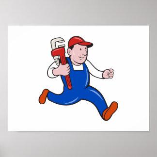 Fontanero con el dibujo animado de la llave ingles poster
