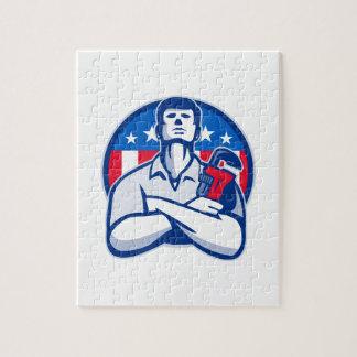 Fontanero con la bandera americana de la llave ing puzzle
