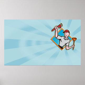 Fontanero con la llave inglesa y el dibujo animado poster