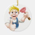 Fontanero del émbolo del dibujo animado adornos de navidad