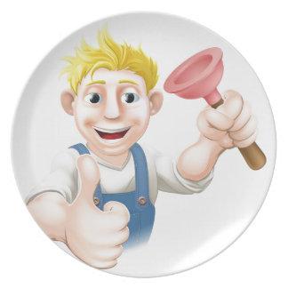Fontanero del émbolo del dibujo animado platos para fiestas