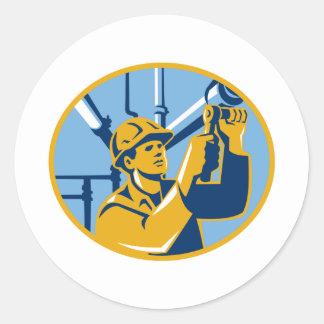 Fontanero del trabajador del gas del mantenimiento pegatina redonda