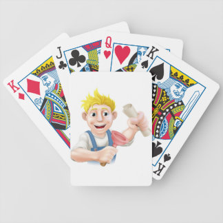 Fontanero o portero con el certificado baraja de cartas
