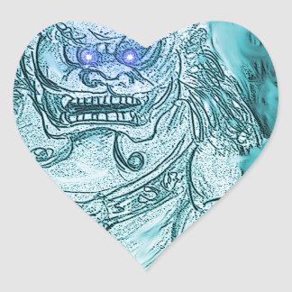 Foo Dog 2 Heart Sticker