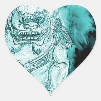 Foo Dog 3 Heart Sticker