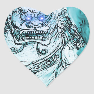 foo dog 9 heart sticker