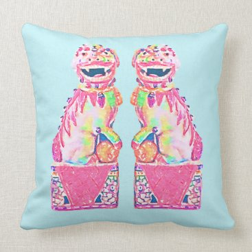 Beach Themed Foo Dog Chinoiserie Pillow Pink Green Palm Beach