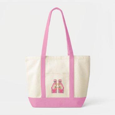 Beach Themed Foo Dog Chinoiserie Tote Bag Pink Green Palm Beach