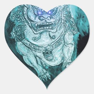 foo dog fractual 5 heart sticker