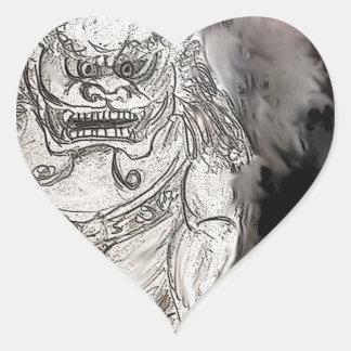 Foo Dog Heart Sticker