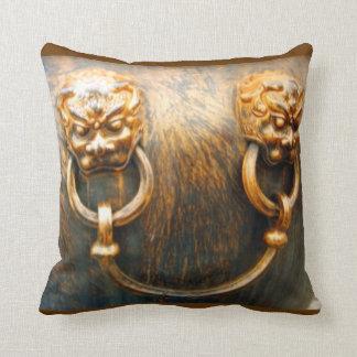 Foo Dogs Gold Lions Forbidden City Beijing Throw Pillow