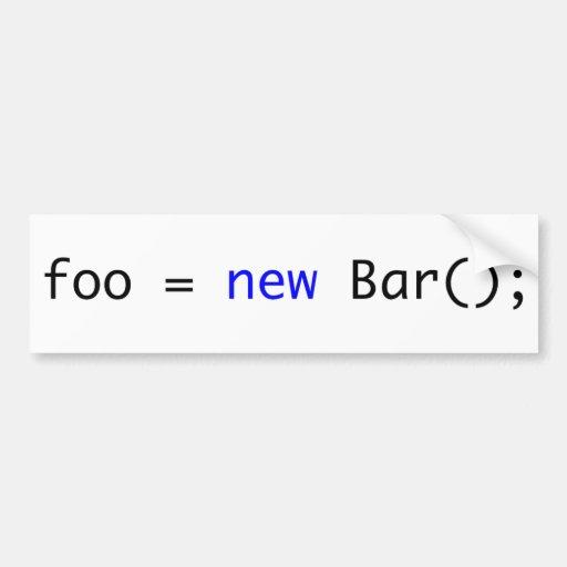 foo = nueva barra (); etiqueta de parachoque