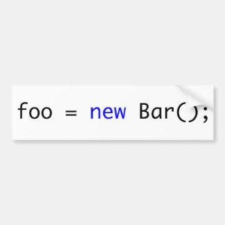 foo = nueva barra (); pegatina para auto