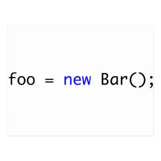 foo = nueva barra (); tarjetas postales