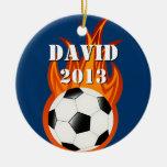 Fooball de Personalizable/ornamento del fútbol Adorno Navideño Redondo De Cerámica