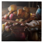 Food - A tribute to Rembrandt - Apples and Rolls Ceramic Tile