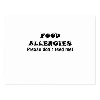 Food Allergies Please Dont Feed Me Postcard