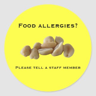 Food allergies Please tell a staff Round Sticker