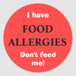 FOOD ALLERGIES sticker