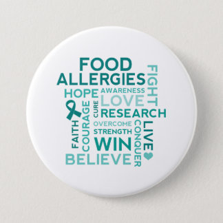 Food Allergies Teal Ribbon Button