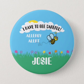 Food Allergy Alert Bumble Bee Button