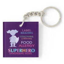 Food Allergy Alert Girl Superhero Kids Custom Keychain