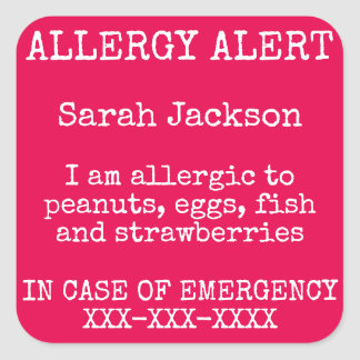 Food Allergy Alert In Case of Emergency Contact Square Sticker