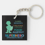 Food Allergy Alert Keychain Boy Superhero