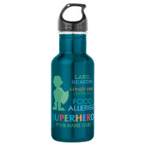 Food Allergy Alert Super Hero Boy Water bottle