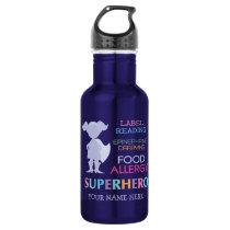 Food Allergy Alert Super Hero Girl Water bottle