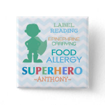 Food Allergy Alert Superhero Boy Button