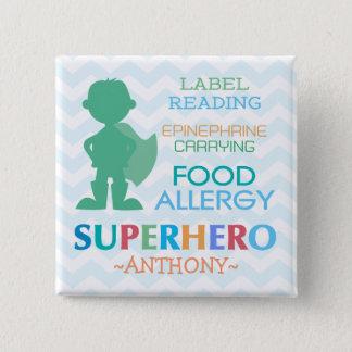 Food Allergy Alert Superhero Boy Button