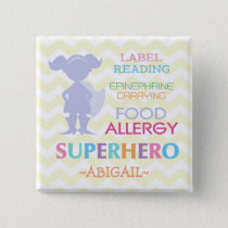 Food Allergy Alert Superhero Girl Button